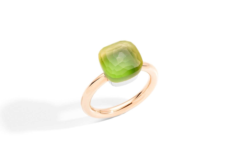 NUDO-GELE-ring-in-rose-gold-with-lemon-quartz-chrysioprase-by-Pomellato