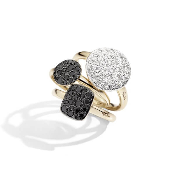 SABBIA rings with white, black diamonds by Pomellato