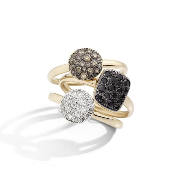 Sabbia rings with black, white, brown diamonds by Pomellato (2)