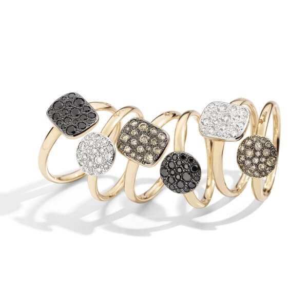 Sabbia rings with black, white, brown diamonds by Pomellato