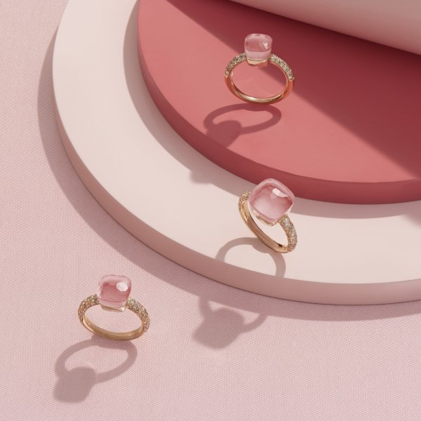 Nudo Rose Quartz rings by Pomellato