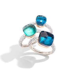 Nudo rings in white gold with diamonds and topaz by Pomellato
