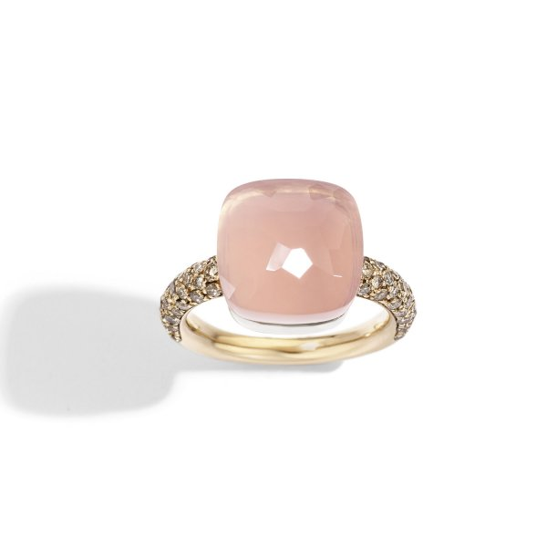 Nudo Maxi ring in rose gold with chalcedony, rose quartz and brown diamonds by Pomellato (2)