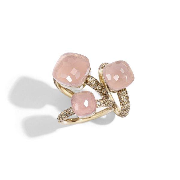 Nudo-rings-in-rose-gold-with-chalcedony-rose-quartz-and-brown-diamonds-by-Pomellato