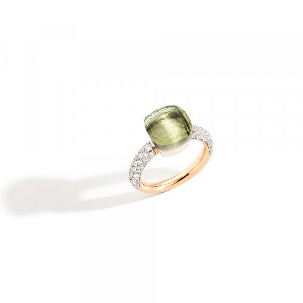 NUDO classic ring in rose gold with prasiolite and diamonds by Pomellato