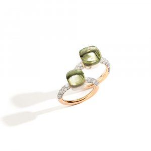 NUDO rings in rose gold with prasiolite and diamonds by Pomellato