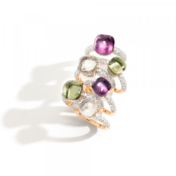 NUDO rings in rose gold with prasiolite, white topaz, amethyst and diamonds by Pomellato (2)