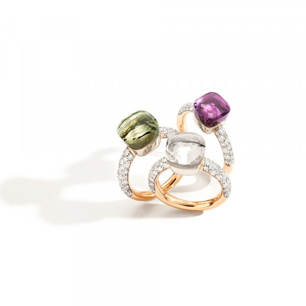 NUDO rings in rose gold with prasiolite, white topaz, amethyst and diamonds by Pomellato
