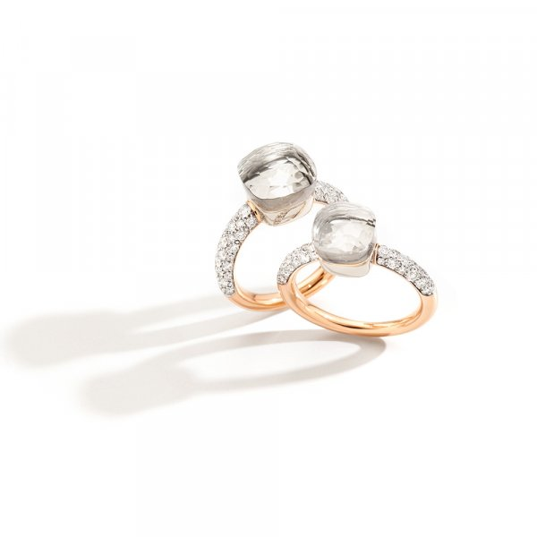 NUDO rings in rose gold with white topaz and diamonds by Pomellato